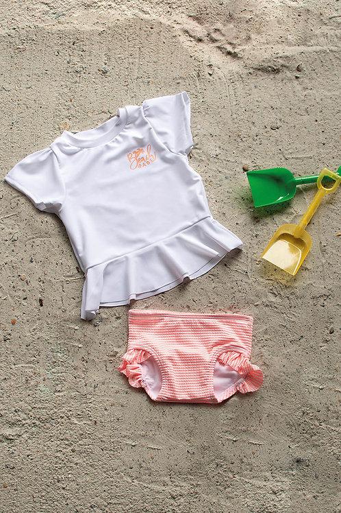 Cowabunga Girls Short Sleeve Sun Shirt and Bottom Set