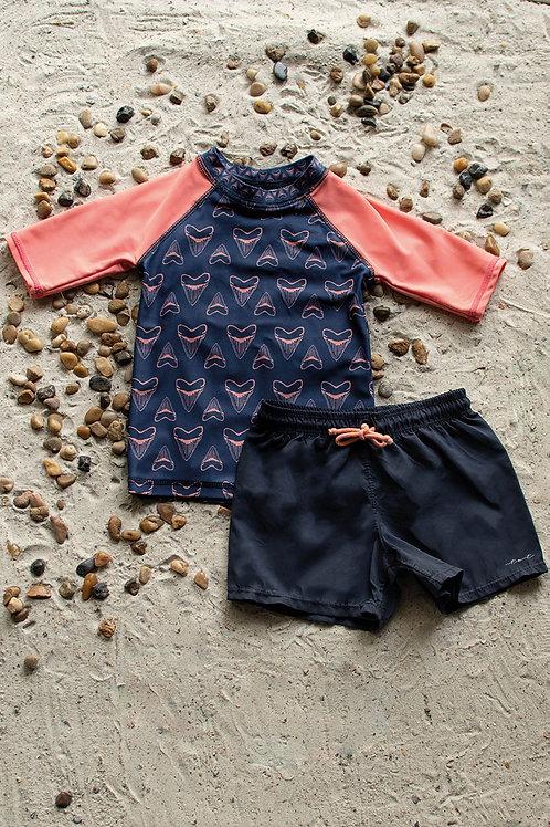 Shark Teeth Boys Half Sleeve Sun Shirt and Short Set