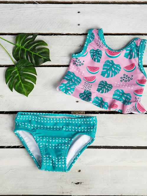 Watermelon and Palms Ruffle Crop Top and Swim Bottom