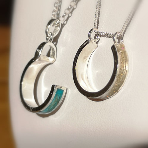 Handmade Sterling Silver channel horse shoe with resin