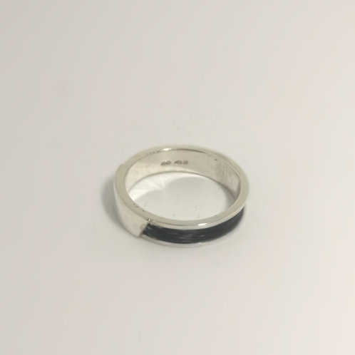 Sterling Silver channel ring with horse hair