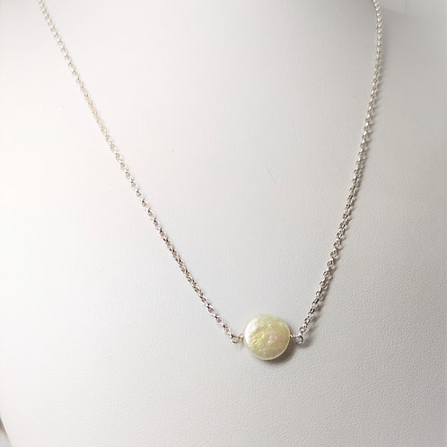 Single coin shaped pearl on Sterling Silver