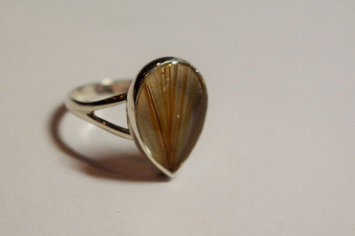 Sterling Silver Tear Drop ring set with resin