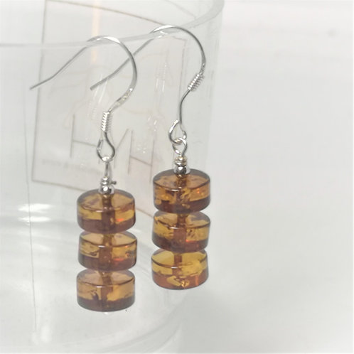 Earrings of Amber discs with Sterling Silver
