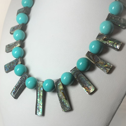 Turquoise & Abalone in a Sterling Silver chain