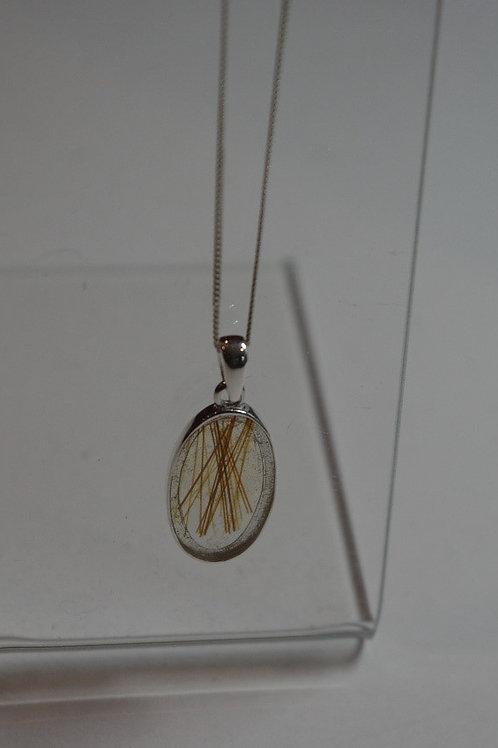 Open back resin in Sterling Silver pendant