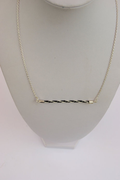 Slim square braid set in to a sterling silver necklace