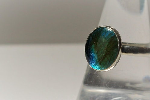 Sterling Silver Oval ring set with resin