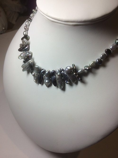 Hand knotted peacock & grey pearls