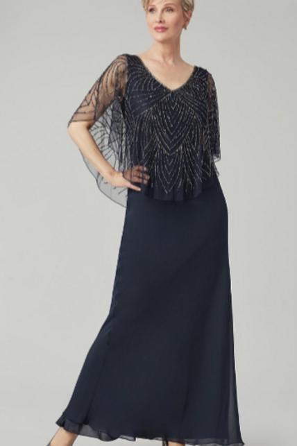 Чудесное платье в пол тёмно-синего цвета