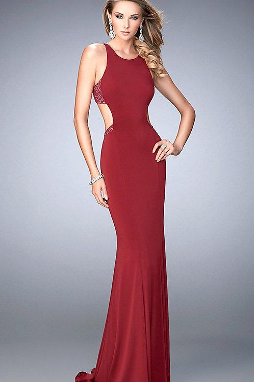 Облегающее платье винного цвета