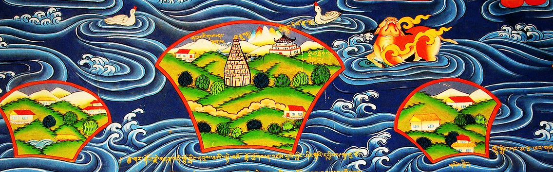 Beautiful Tibetan artwork of a lake and islands off a temple wall