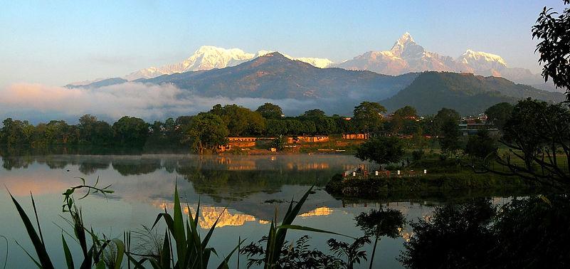 Reflections of Annapurn mountains, Fewa Lake, Pokhara
