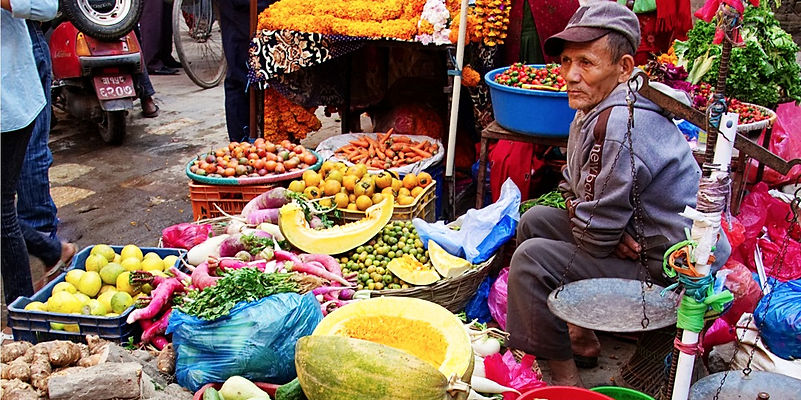 Street market, vegetable stall in Asan Tole, with owner, Kathmandu, Nepal