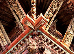 Intricate wood carving on temple strts, Bhaktapr Nepal