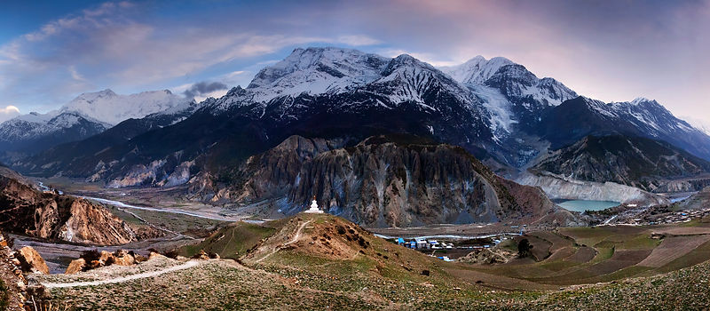 Manang, with mountains behind.  Nepal