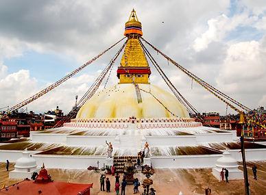Boudhanath Stupa with monsoon clouds, Kathmandu, Nepal