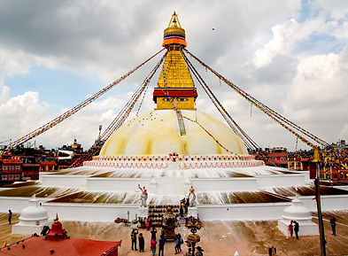 Boudhanath Stupa with monsoon clouds, Kathmandu, Nepal