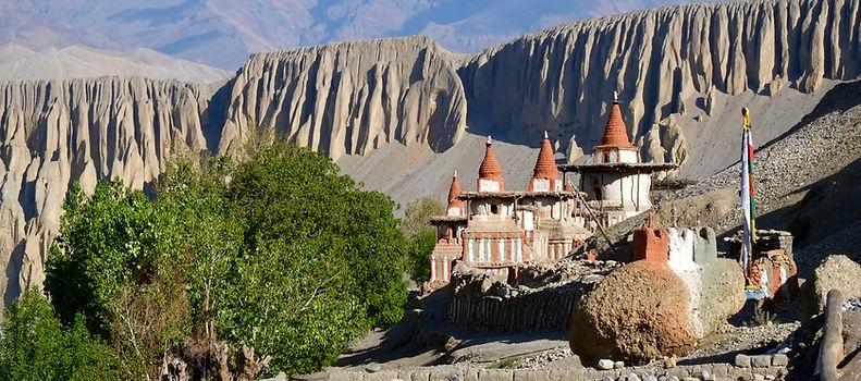 Tangye village in Upper Mustang, Nepal