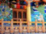 Colourful paintings on front of Guru Lhakhang Monastery, Bhoudanath Stupa, Kathmandu