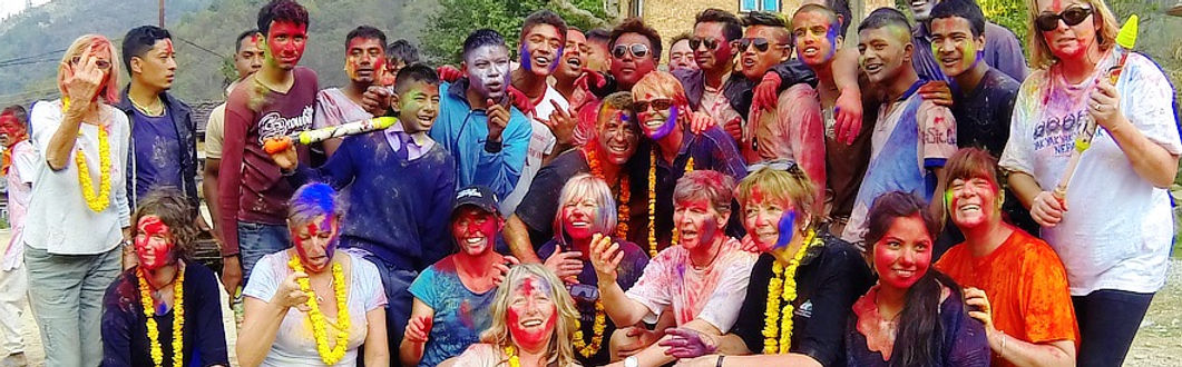 Wanderlust Journey gropu celebrating Holi festival with local villages in Kathmandu Valley, Nepal