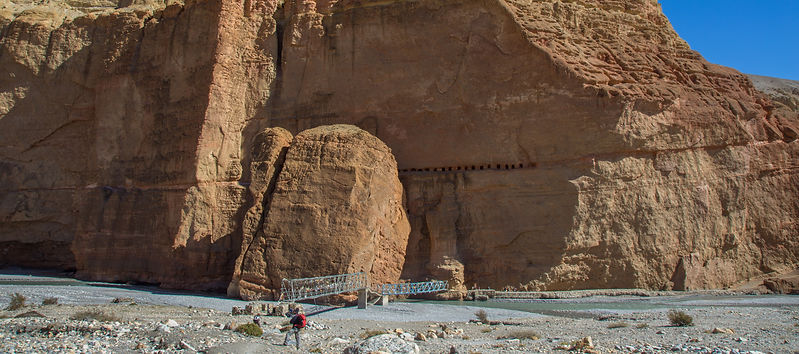 Steel bridge across Kali Gandaki river, near Chele in Upper Mustang, Nepal
