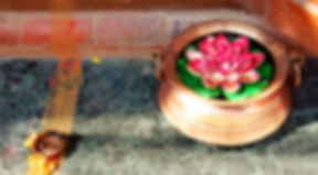 Lotus in pot as part of a rangoli in Nepal