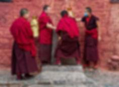 Monks collecting water at Tashilhunpo Monastery, Shigatse, Tibet