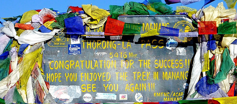 Sign top of Thorong La Pass, Annapurna, Nepal