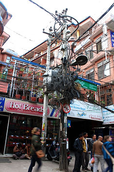 Tangle of power lines, Kathmandu, Nepal