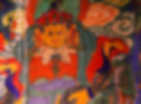 Art work inside Luri Gomp, Upper Mustang, Nepal