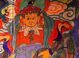 Art work inside Luri Gomp, Upper Mustang, Nepal