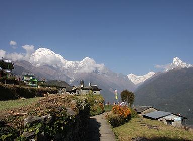 Village nd annapurna mountains, Nepal
