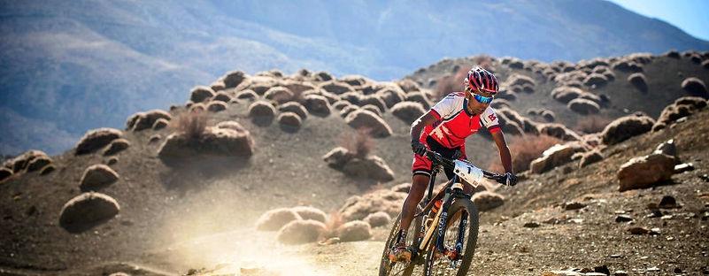 Mountain Bike rider, yak attack, Nepal