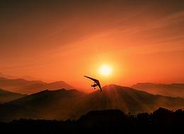 Ultralight at sunset nea Pokhara, Nepal