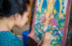 Nepali woman painting a religous picture (Thangka), Boudhanath, Nepal