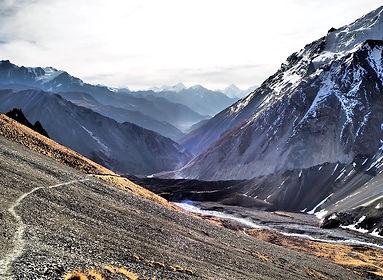 Trail descending Thorong La Pass, Annapurna, Nepal