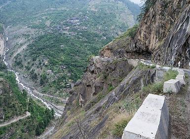 Steep descending mountain road, Annapurna, Nepal