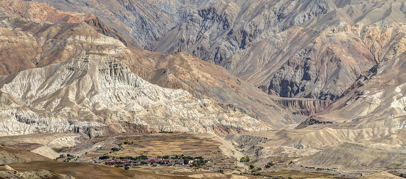 The canyons surrounding Lo-Manthang, capital of Upper Mustang, Nepal