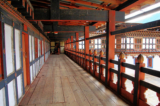 Bhutan temple first floor walkway