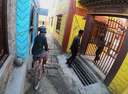 Bike in laneway in Kagbeni, Mustang, Nepal