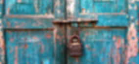 Beautiufl, rustic, green timber door and padlock, Kathmandu, Nepal