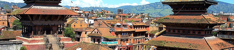 View across the temple rooftops in Bhaktapur, Nepal