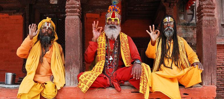 3 Sadhus on temple step, Kathmandu, Nepal