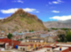 View of Gyantse in Tibet from Khumbum Gompa