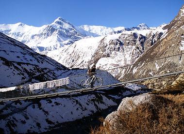 Riding over suspension bridge, Annapurna, Nepal