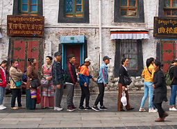 Queue around the Barkhor, waiting to enter the Jokhang Temple, Lhasa, Tibet
