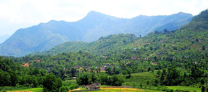 Mountains and village, Tribhuvan Highway, Nepal