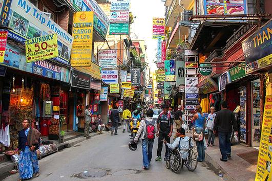 Busy shopping street, Thamel, Kathmandu, Nepal
