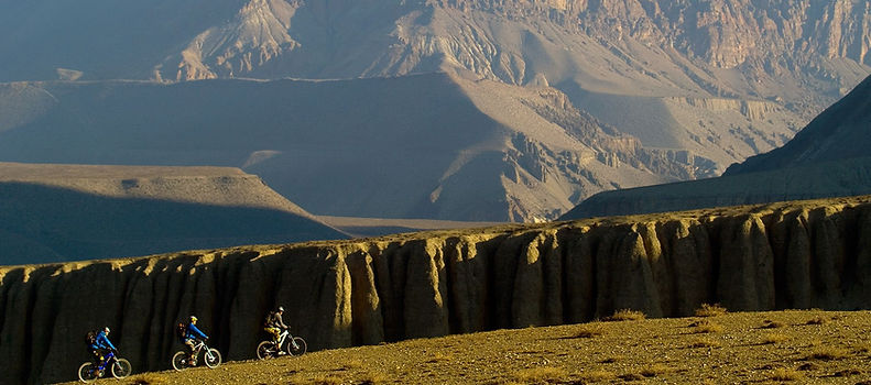 Mountain Bikes on high plateau in Mustang, Nepal